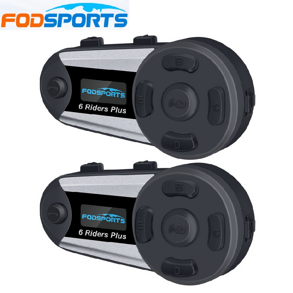 Fodsports 2 pièces V6 Plus casque Interphone moto casque casque sans fil Bluetooth 6 coureurs 1200M BT Interphone FM LED