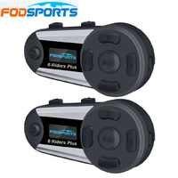 Fodsports 2pcs V6 Plus Helmet Intercom Motorcycle Helmet Headset Wireless Bluetooth 6 Riders 1200M BT Interphone FM LED