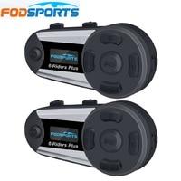 Fodsports 2 шт. V6 плюс шлема мотоцикла Шлемы гарнитуры Беспроводной Bluetooth 6 ездоков, 1200 м BT Interphone FM светодиодный