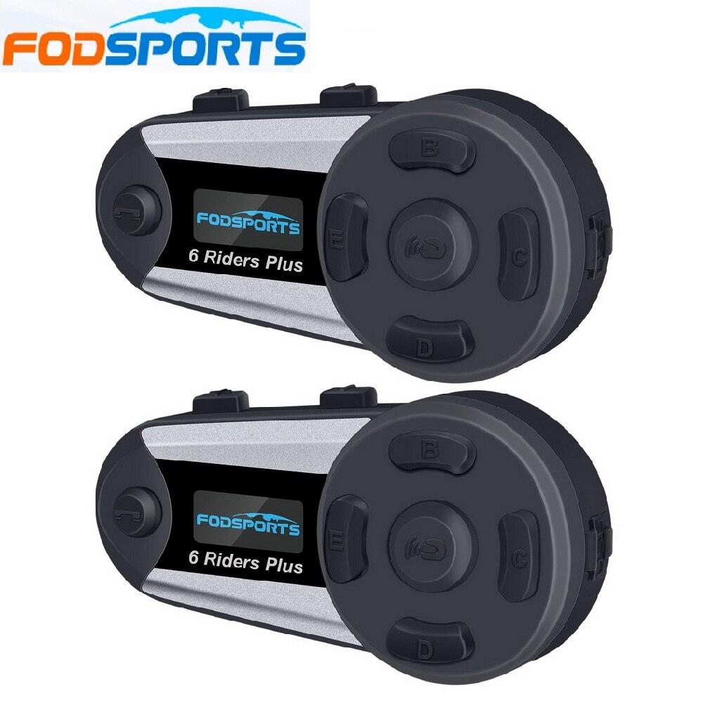 Fodsports 2 pièces V6 Plus casque Interphone moto casque casque sans fil Bluetooth 6 coureurs 1200M BT Interphone FM LED