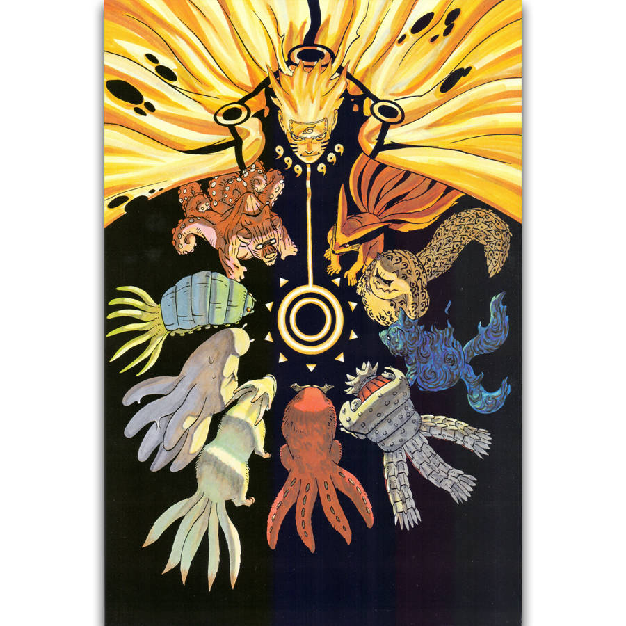 0 Tails Naruto us $5.49 |s1671 uzumaki naruto naruto shippuden anime animal tails wall art  painting print on silk canvas poster home decoration-in painting &