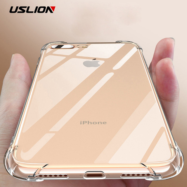 USLION Airbag Drop Protection Case For iPhone X XS Max XR Phone Case For iPhone 6 6S 7 8 Plus 5 5S SE Transparent Silicone Cover