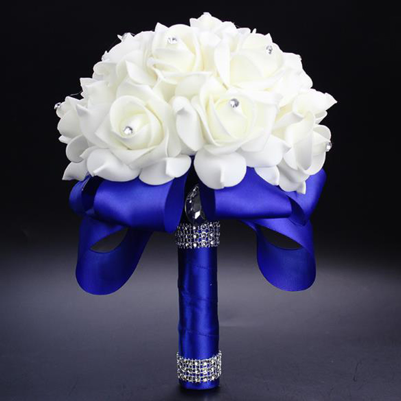 Elegant Colorful Bride Bridesmaid Rose Artificial Hands Holding Wedding Flowers Bridal Bouquets for Party Decoration  Royal Blue