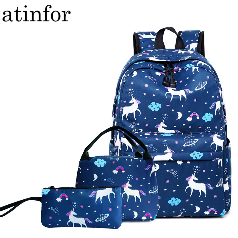 3pcs/set Women Unicorn Printing Backpack Student Book Bag with Lunch Box Bags Laptop Bagpack Lady School Bag for Teenager Girls