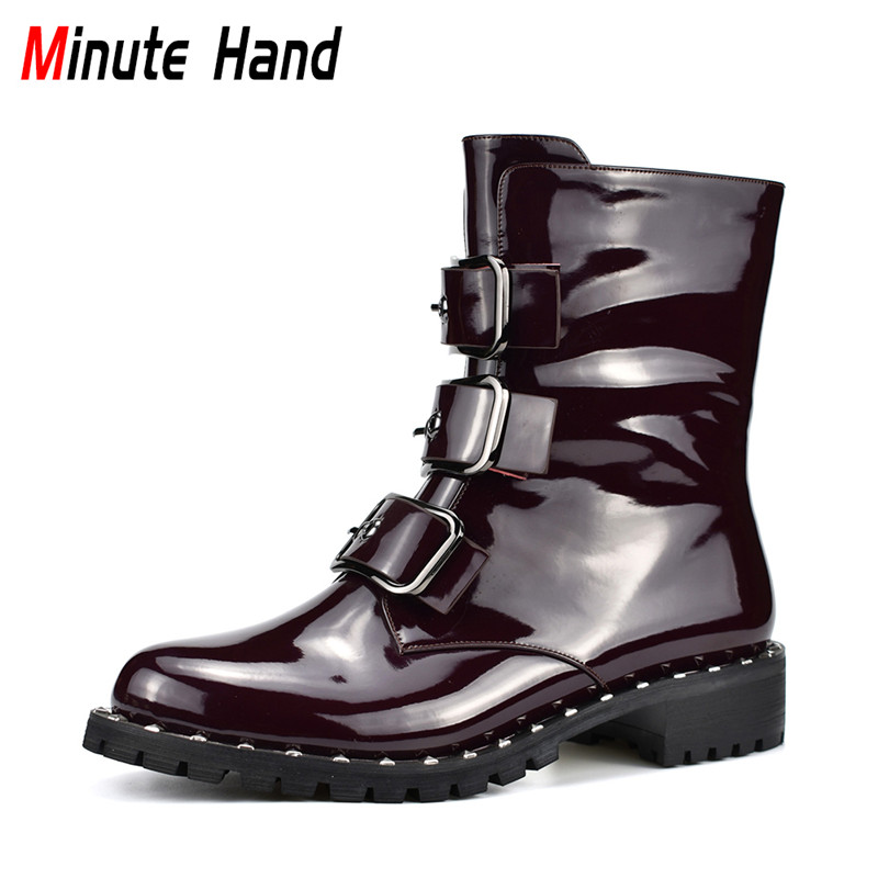 Minute Hand High Quality Patent Leather Women Motorcycle Boots Fashion Buckle Zipper Female Ankle Boots Punk Boots Autumn Winter women martin boots 2017 autumn winter punk style shoes female genuine leather rivet retro black buckle motorcycle ankle booties