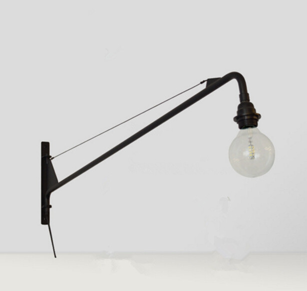 finest selection 2b39e d373b US $74.7 17% OFF|Suspension luminaire Jean Prouve Designer LED Wall Light  Potence Retro Wandlamp Aisle Long Rod Cantilever LED Wall Lamp Fixture-in  ...
