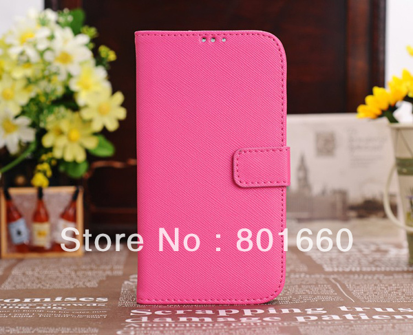 20pcs/lot Cross Stripes PU Leather Wiht Credit Card Slot Flip Stand Cover Case For Samsung Galaxy S IV S4 I9500