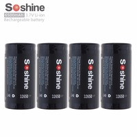 4pcs/set Soshine 3.7V 32650 6500mAh Li ion Rechargeable Battery with 18A Discharge Current for LED Flashlights