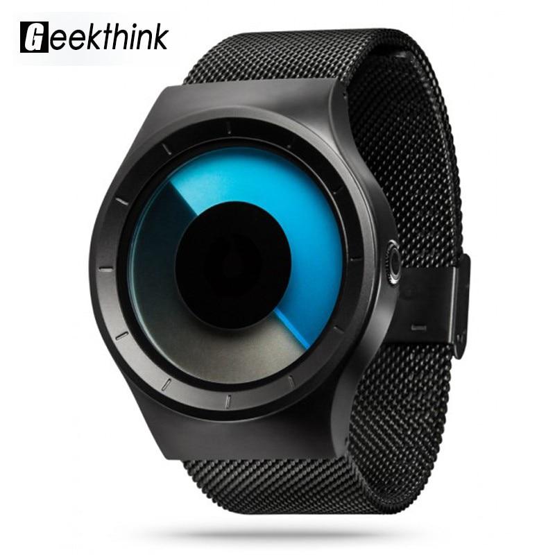 Geekthink quartz montre hommes top marque de luxe casual acier inoxydable maille créative montre horloge hommes et femmes Creative cadeau Reloj