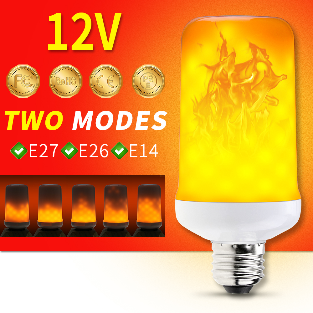 NEW <font><b>E27</b></font> Flame Led Light <font><b>12V</b></font> Ampoules Led Flamme Effect Flickering Fire Light Bulb E14 LED Corn Lamp Decoration Dynamic Burning image