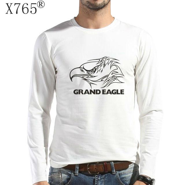 Novo 2016 homens marca de moda casual camisa t Outono e inverno impressão de algodão de manga longa t-shirt dos homens grand águia 2017 m-5xl xl