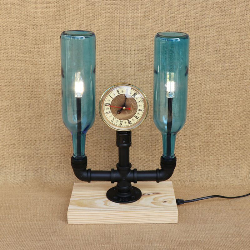 Modern LED Bottle lampshade desk light vintage clock with switch table light include for bedroom bedside office study 220V indoor brief solid oak wood textile desk lamp fabrics lampshade table light bedroom bedside warm lampara night light luminaria