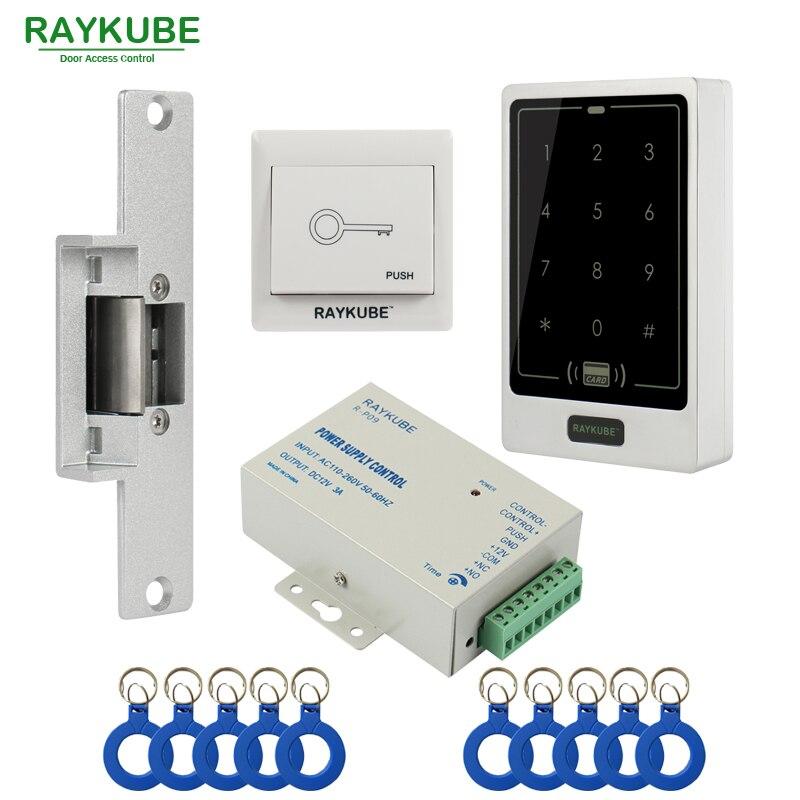 RAYKUBE Access Control Kit Electric Strike Lock Metal Case Touch Keypad FRID Reader ID Keyfobs Exit