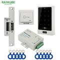 RAYKUBE Access Control Kit Electric Strike Lock + Metal Case Touch Keypad FRID Reader+ID Keyfobs+Exit