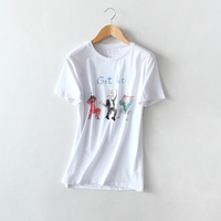 T Shirts Women S Fashion Graffiti Tees 2018 Summer O Neck Short Sleeve White Print T
