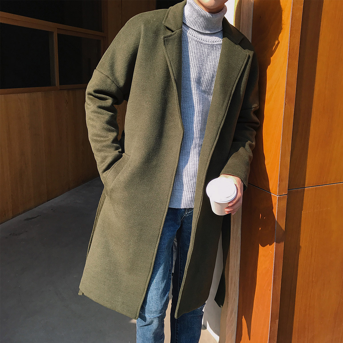 2018 New Autumn Winter Korean Fashion Trench Coat Men Oversize Drop Shoulder Long Windbreaker Men's Coat Thick Warm 1.5kg