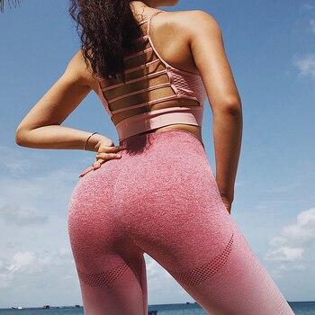 16e8ba3de Mujer deportes gimnasio Yoga pantalones compresión Medias sin costuras  pantalones elásticos alta cintura correr Fitness Leggings Hip Push Up