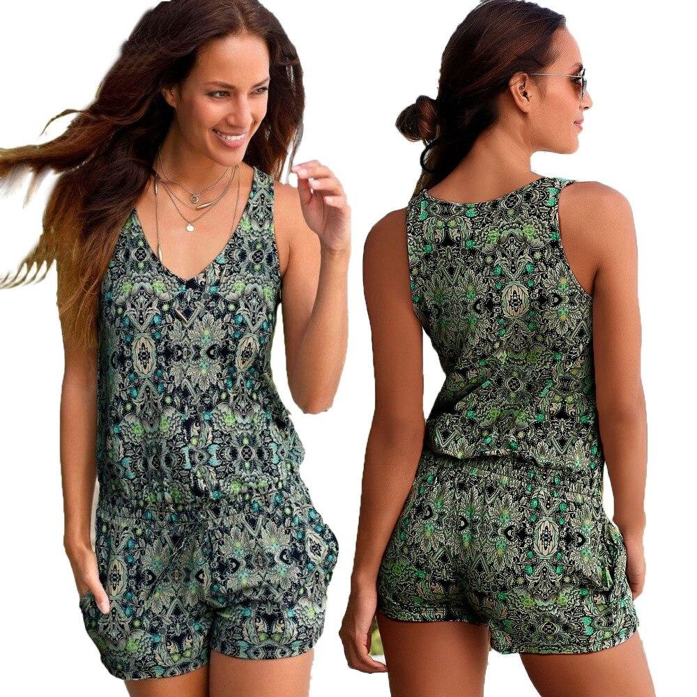 87869548d6 Sexy Sleeveless jumpsuit women short romper summer floral shorts bodysuit  beach playsuit coveralls female frock