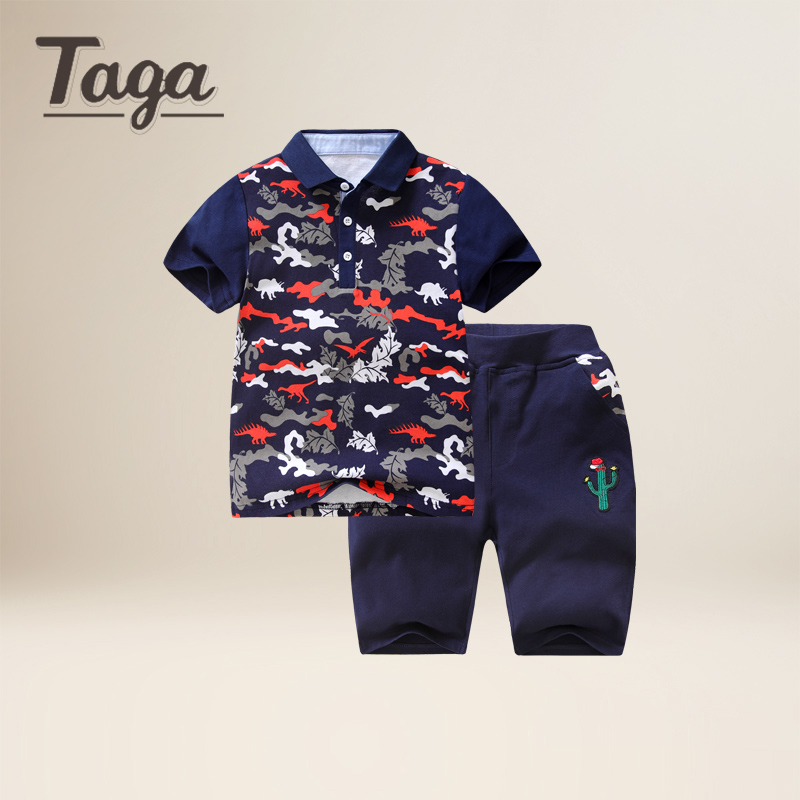 TAGA High Quality Boys kids Clothing Set dinosaur Print Short Sleeve T-Shirts tops+ Pants Set Baby Children Clothing Sports Suit