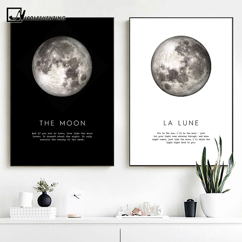 The Moon Quotes Canvas Poster Black White Wall Art Print Planet Painting Decorative Picture Modern Home Living Room Decoration