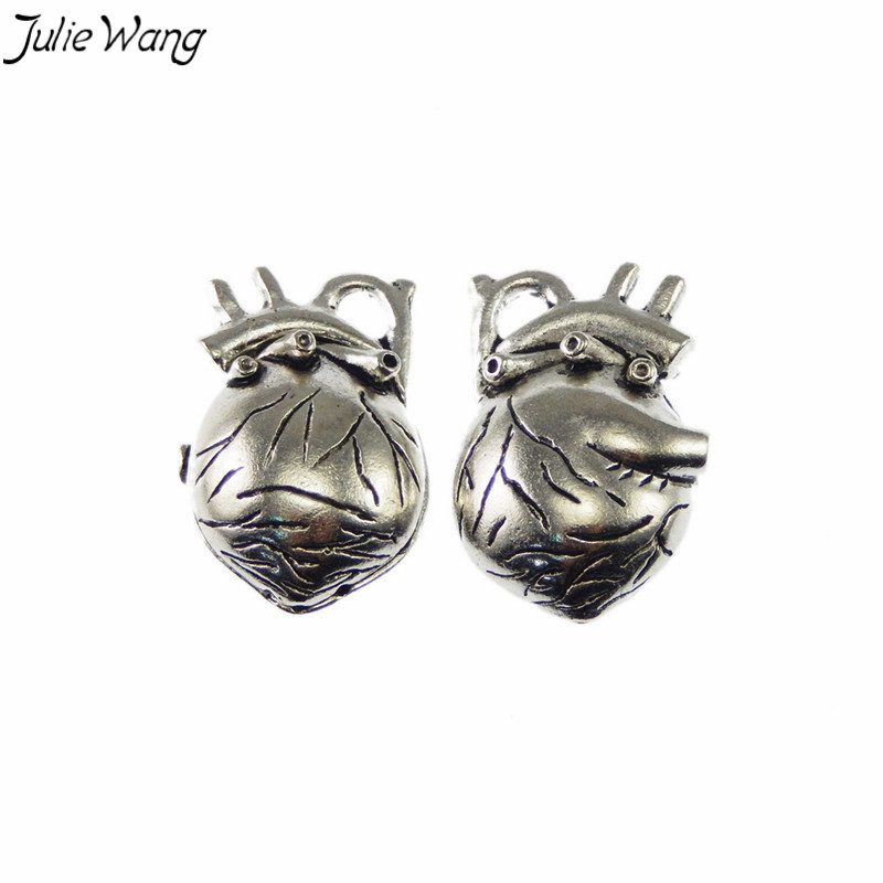 Julie Wang 1pc Vivid 3D Human Heart Organ Shape Pendant Silver Tone Charm for Handmade Punk Style Special Jewelry Accessory