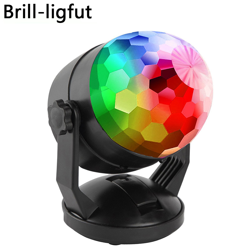 Portable Sound Activated Disco Party Lights Battery Powered/USB Plug In RGB Strobe Lamp Stage Par Light For Car Room Dance Party