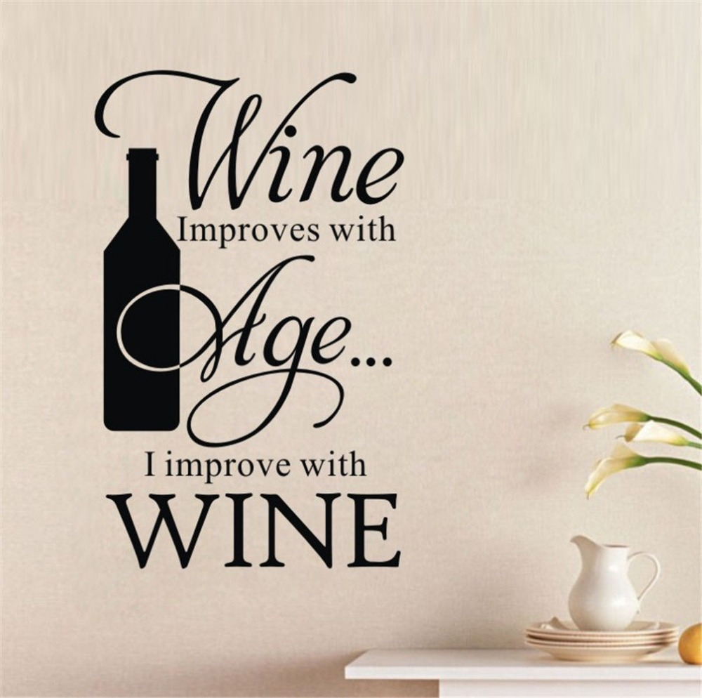 Stickers Cuisine Wine Improves With Age I Improve Winebottle Quote