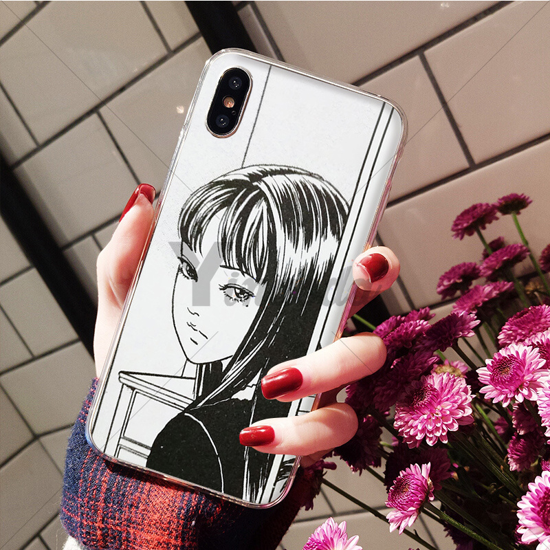 Yinuoda Japanese horror comic Tomie Soft Silicone Transparent Phone Case for iPhone 6S 6plus X Xs MAX 7 7plus 8 8Plus 5 5S XR in Half wrapped Cases from Cellphones Telecommunications