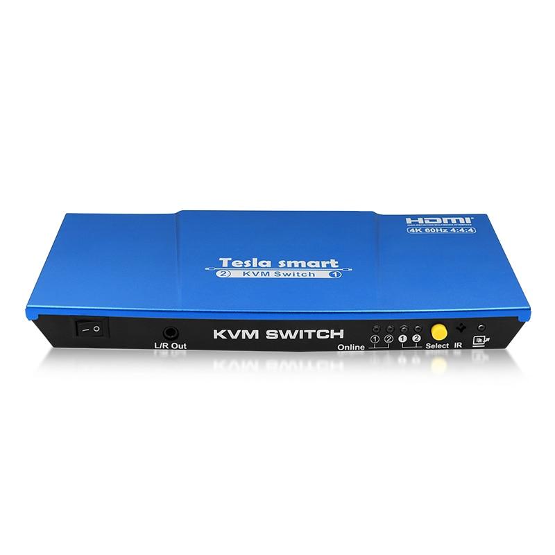 Blue Tesla Smart HDMI 4K@60Hz High Quality USB HDMI KVM Switch 2 Port USB KVM HDMI Switch Support 4K*2K@60Hz Extra USB2.0 Port