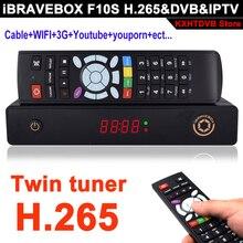 IBRAVEBOX TwinTune F10S Wifi receptor de satélite DVB S2 CCcam IPTV Suporte H.265 XtreamIPTV USB Media Player Com Display LED