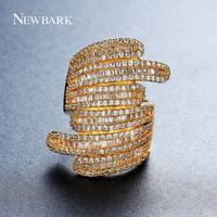 NEWBARK Brand Wide Design Handcraft Finger Ring Micro CZ Vintage Rings For Women Gold Plated Jewelry