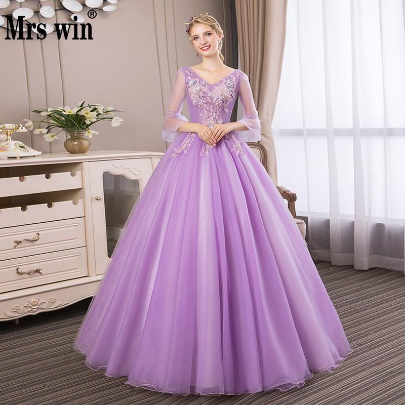 Mrs Win Vestidos De 15 Anos Elegant Three Quarter Sleeve Sexy V neck Ball Gown Vintage