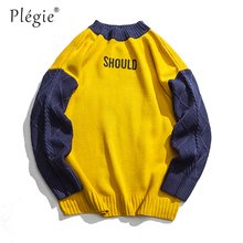 Plegie Sweaters Men Autumn Winter Hip Hop Stitching Color Patchwork knitting Pullover Men Casual Plus Size Street Style Sweaters