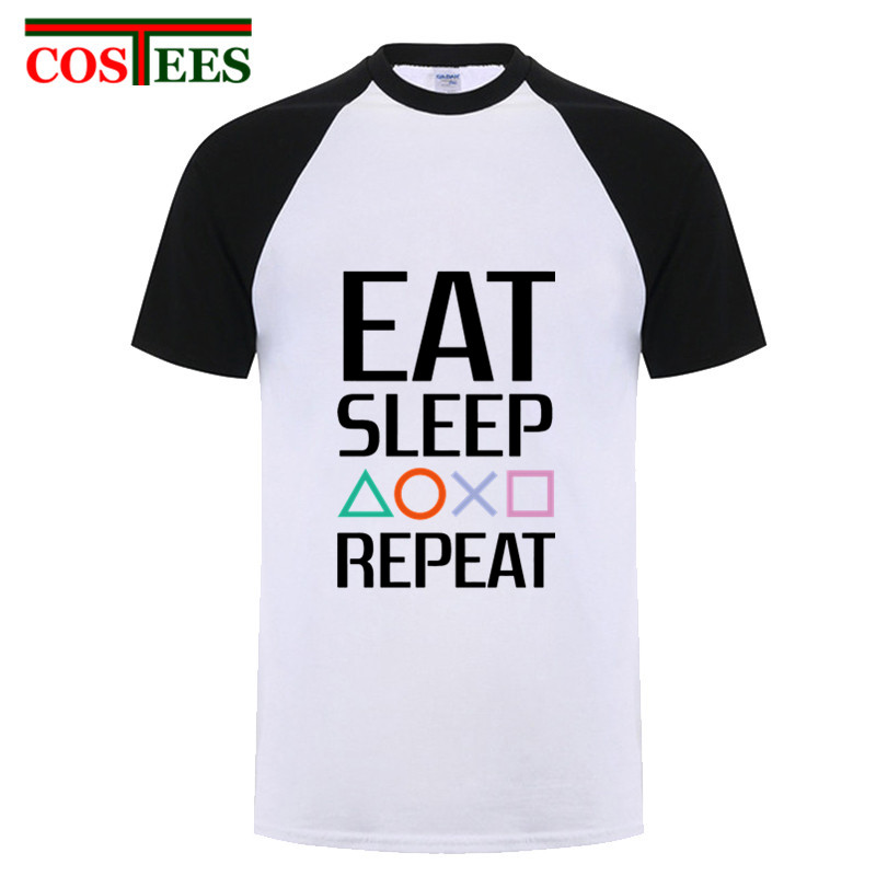 Eat Sleep Playstation Repeat Tshirt Best HipHop Tops Crazy Summer PS game T Shirt For Men Knitted Vintage Slim Fit Plus Size 3xl(China)