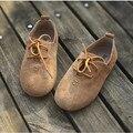 Meninos e meninas das sapatilhas de couro genuíno camurça de couro crianças lace-up oxford shoes crianças casual shoes frete grátis