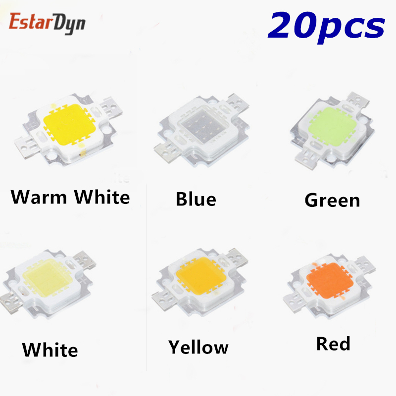 20PCS 10W LED Integrated High Power LED Beads 10W White/Red/Yellow/Blue/Green/Warm White 24*40mil 10W Led Chip