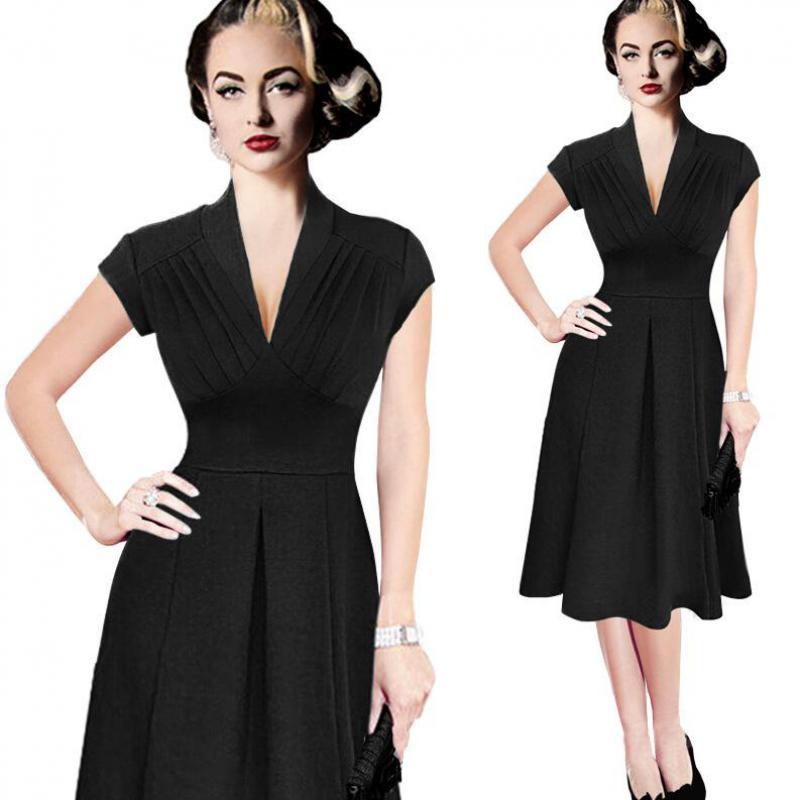 25a249954b IRicheraf Eleganckie Sukienki Biurowe Dla Kobiet Kolano Długość Krótki  Rękaw Stałe Głębokie V-neck Lady Strona Plisowana Sukienka W Stylu Vintage  Vestidos