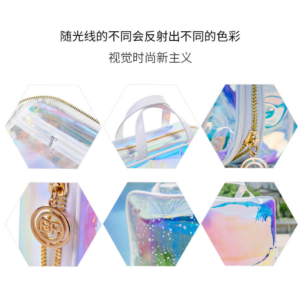 808b8d733603 Holographic Laser Cosmetic Bag Rainbow Holo Jelly Beauty Bag for Women  Waterproof Transparent Purse Zipper Makeup Storage Kits