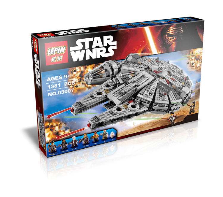 2016 New LEPIN Spacecraft Star Wars Millennium Falcon Model Toys Children fight inserted building blocks Compatible Legoed 75105