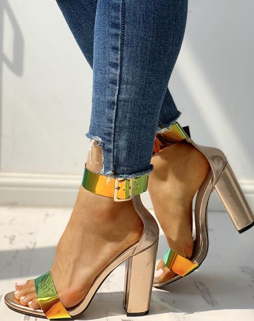 Hot Selling Ankle Buckled Chunky Heeled Sandals in Spring Summer Sandal For Woman laser Band Super High Think Heel ShoesHot Selling Ankle Buckled Chunky Heeled Sandals in Spring Summer Sandal For Woman laser Band Super High Think Heel Shoes