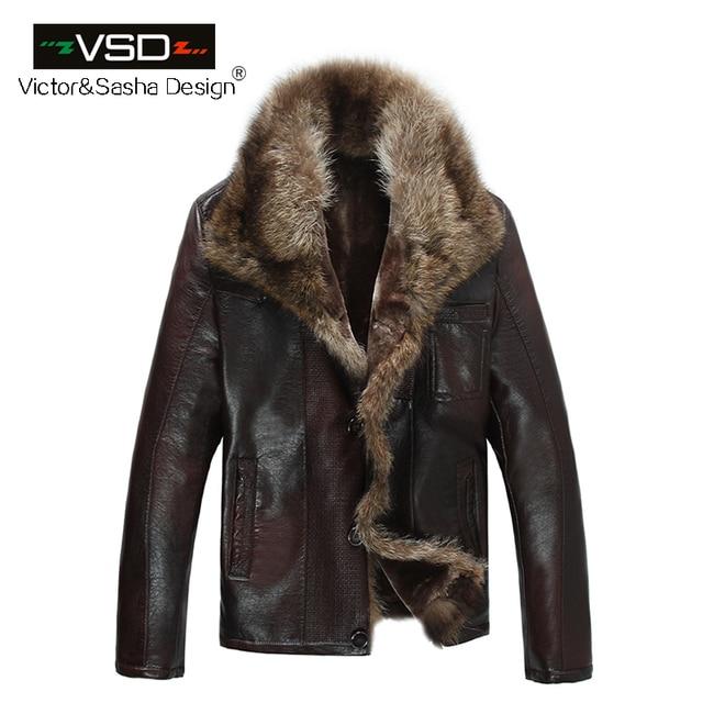 Бесплатная доставка Лидер продаж Модные для мужчин пальто для будущих мам куртка из искусственной кожи короткие енота меховой воротник кожаные куртк