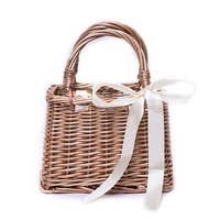 New Arrival Bamboo Woven Square Bag With Ribbon Women Retro Rattan Top handle Bags Female Wicker Beach Handbags Shoulder Bags