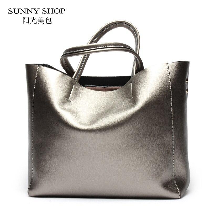 SUNNY SHOP American Luxury 100 Genuine font b Leather b font Women Shoulder Bag Brand Designer