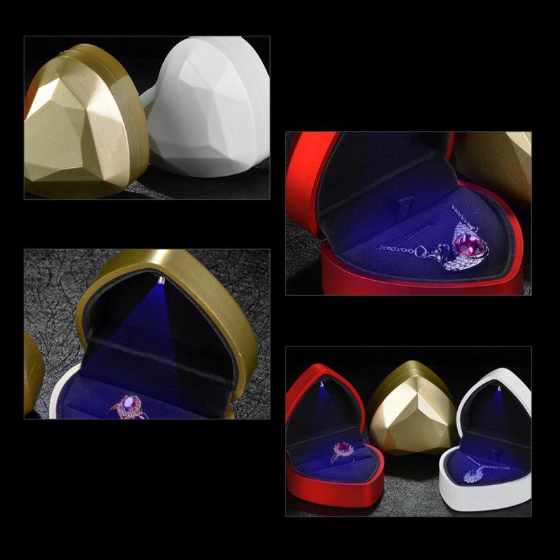 Коробка ювелирных изделий для кольца ожерелье кулон профессиональный из светодиодов свет свадьба