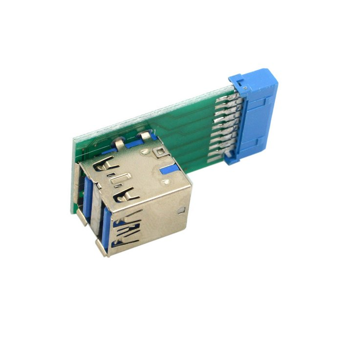 Jimier Vertical Dual USB 3.0 A Type Female To Motherboard 20 Pin Box Header Slot Adapter PCBA