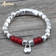 Anslow Vintage Silver Color Beads Bracelets & Bangles Pulseras DIY Leather Female Christmas Free Shipping LOW0409LB