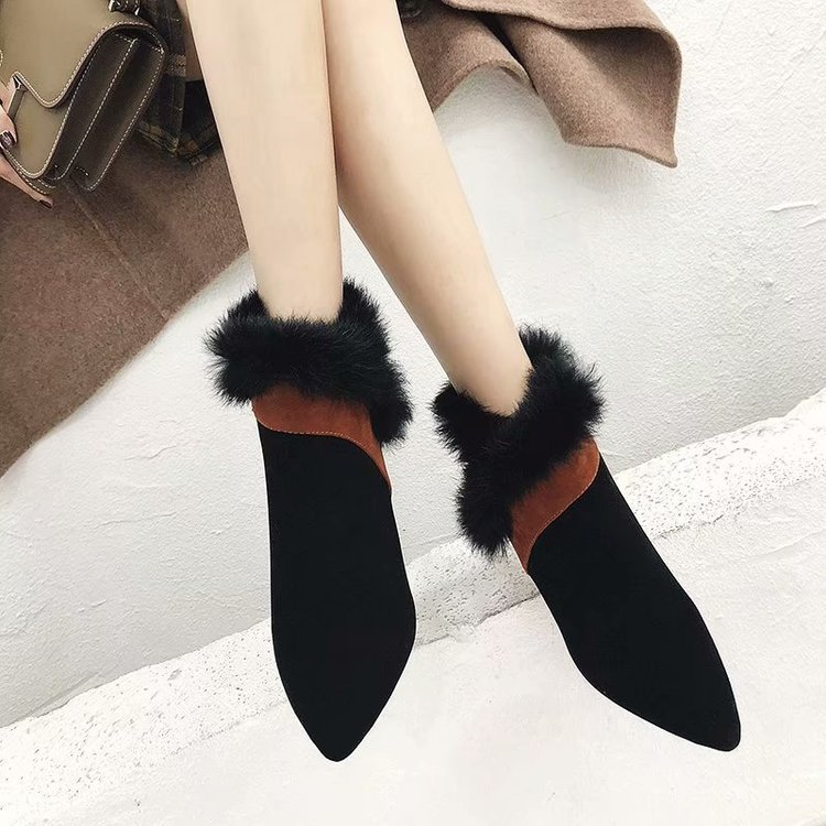 faux fur decoration ankle boots women gold high heeled plush winter booties mixed color suede leather peluche botas mujer s456 47