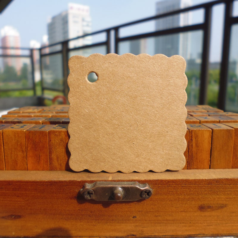 100pcs Square Shape Kraft Paper Hang Tag , Wedding Party Gift Tag, DIY Cards Price Label Tag, Hemp String Included 4.5X4.5cm