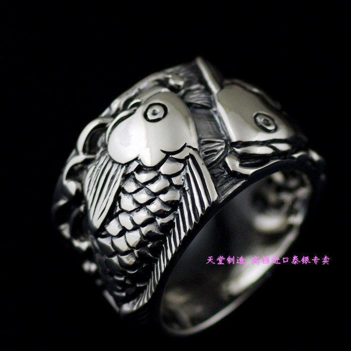 Thailand imports, retro 925 Sterling Silver Pisces Thai silver ring thailand imports skull blood new skeleton silver ring