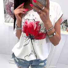 Women Short Sleeve T-Shirt Casual Floral Print ladies Loose Top Shirt Tee fashion female Print Short Sleeve top camisetas mujer(China)